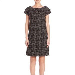 Badgley Mischka Metallic Tweed Fringe Shift Dress